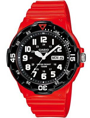カシオ スポーツウォッチ 10気圧防水 メンズ アナログ 腕時計 ダイバーズ レッド 赤(MR14JAP-102RED)回転ベゼル カレンダー ランニングウォッチ CASIO 海外限定 マラソン ランニング 時計 ダイバーズウォッチ