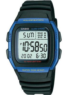 カシオ スポーツウォッチ 5気圧防水 メンズ デジタル 腕時計 (W11P-6505BLU)ストップウォッチ デュアルタイム 10年電池 LEDライト付き ランニングウォッチ CASIO 海外限定 日本未発売 マラソン ランニング ウォッチ 時計