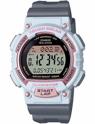 カシオ スポーツウォッチ 10気圧防水 ソーラー デジタル レディース 腕時計(SD15JLP-203WHGR)ストップウォッチ カウントダウンタイマー 120ラップ LEDライト付き ランニングウォッチ CASIO ランナーズ マラソン ランニング 時計 ランナー ウォッチ