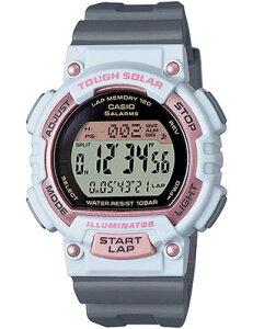 カシオ スポーツウォッチ 10気圧防水 ソーラー デジタル レディース かわいい 腕時計 (SD15JLP-203WHGR) ストップウォッチ カウントダウンタイマー 120ラップ LEDライト付き ランニングウォッチ カ