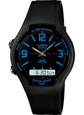 カシオ スポーツウォッチ 5気圧防水 メンズ デジタル アナログ 腕時計(ASD11FBP-501BKBU)デュアルタイム 1/100秒ストップウォッチ クロノグラフ ランニングウォッチ CASIO 海外限定 マラソン ランニング 時計 ランナー ウォッチ