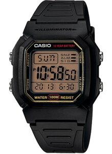カシオ スポーツウォッチ メンズ 10気圧防水 デジタル 腕時計 ランニングウォッチ ブラック 黒 (W13P-3104BKBR) アラーム カレンダー ストップウォッチ 10年電池 LED ライト付き CASIO 海外限定 マラ