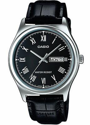 カシオ メンズ アナログ 腕時計 日付・曜日カレンダー ローマ数字 3針 クォーツ レザー 革バンド ブラック 黒 シルバー 銀(SD15AUP-301BKBK)海外限定 CASIO MENS ANALOG おしゃれな カジュアルウォッチ 時計 ドレスウォッチ