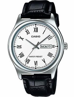 カシオ メンズ アナログ 腕時計 日付・曜日カレンダー ローマ数字 3針 クォーツ レザー 革バンド ブラック 黒 シルバー 銀(SD15AUP-302BKWH)海外限定 CASIO MENS ANALOG おしゃれな カジュアルウォッチ 時計 ドレスウォッチ 腕時計