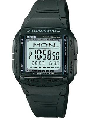 スポーツウォッチ メンズ カシオ デジタル データバンク 5気圧防水 腕時計 ブラック 黒 DB09P-4503BLK海外版 ストップウォッチ カウントダウンタイマー LEDライト付き ランニングウォッチ CASIO マラソン ランニング 時計