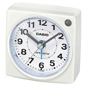 カシオ 電波時計 コンパクト 置時計 アナログ 目覚まし時計 おしゃれな ホワイト 白(CL15JU32WHT)アラビア数字 アラーム スヌーズ 秒針 音がしない 秒針停止機能 見やすい ライト付き 静かな