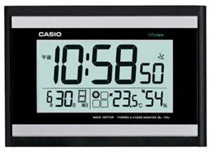 カシオ 電波時計 壁掛け時計 デジタル 掛け時計 生活環境お知らせクロック おしゃれな ブラック 黒 (CL15JU45) 日付 曜日 カレンダー 温度 湿度計付き CASIO シンプル 見やすい 大型液晶 電波掛時