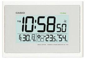 カシオ 電波時計 壁掛け時計 デジタル 掛け時計 生活環境お知らせクロック おしゃれな ホワイト 白 (CL15JU46) 日付 曜日 カレンダー 温度 湿度計付き CASIO シンプル 見やすい 大型液晶 電波掛時計 ウォールクロック