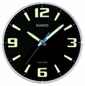 カシオ 電波時計 壁掛け時計 アナログ 掛け時計 アラビア数字 おしゃれな ブラック 黒 夜間 見やすい ネオブライト 蓄光塗料 アラビア数字 インデックス (CL15JU68) 蓄光 夜光時計 秒針 音がしない 秒針停止機能 CASIO 電波掛時計 静かな ウォールクロック