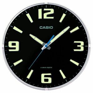 カシオ 電波時計 壁掛け時計 アナログ 掛け時計 アラビア数字 おしゃれな ブラック 黒 夜間 見やすい ネオブライト 蓄光塗料 アラビア数字 インデックス (CL15JU68) 蓄光 夜光時計 秒針 音がし