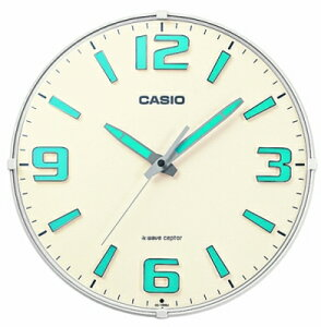 カシオ 電波時計 壁掛け時計 アナログ 掛け時計 アラビア数字 おしゃれな ホワイト 白 夜間 見やすい ネオブライト 蓄光塗料 アラビア数字 インデックス (CL15JU69) 蓄光 夜光時計 秒針 音がし
