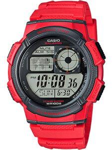 カシオ スポーツウォッチ 10気圧防水 ランニングウォッチ メンズ デジタル 腕時計 おしゃれな レッド 赤 (AE16FBP-303RED) ストップウォッチ カウントダウンタイマー LED ライト付き CASIO 海外限定