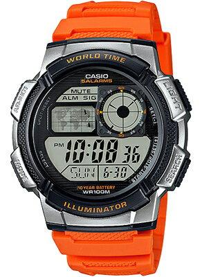 カシオ スポーツウォッチ 10気圧防水 ランニングウォッチ メンズ デジタル 腕時計(AE16FBP-304ORG)カウントダウンタイマー ストップウォッチ 10年電池 LEDライト付き CASIO 海外限定 マラソン ランニング 時計 ランナー ウォッチ
