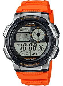 カシオ スポーツウォッチ 10気圧防水 メンズ デジタル ランニングウオッチ 腕時計 オレンジ(AE16FBP-304ORG)カウントダウンタイマー ストップウォッチ ランニングウォッチ LEDライト付き CASIO 海