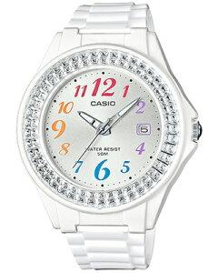 カシオ スポーツウォッチ 5気圧防水 ランニングウォッチ レディース アナログ 腕時計 かわいい ホワイト 白 (LH16FBP-1402WHT) アラビア数字 3針 クォーツ 日付カレンダー CASIO LADYS ANALOG 海外限定
