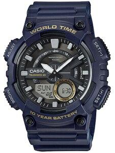 カシオ スポーツウォッチ 10気圧防水 メンズ デジタル アナログ 腕時計 ブルー 青 (SD17OC12BLU) テレメモ機能 ワールドタイム ストップウォッチ カウントダウンタイマー 10年電池 ランニングウ