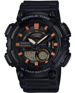 カシオ スポーツウォッチ 10気圧防水 メンズ デジタル アナログ 腕時計 文字盤 見やすい オレンジ 10年電池 (QSD17DCP-101BKOR) テレメモ機能 ストップウォッチ カウントダウンタイマー ランニング