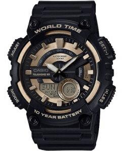 カシオ スポーツウォッチ 10気圧防水 メンズ デジタル アナログ 腕時計 文字盤 見やすい ゴールド 金色 10年電池 (QSD17DCP-102GLD) テレメモ機能 ストップウォッチ カウントダウンタイマー ランニ