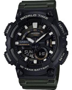 カシオ スポーツウォッチ 10気圧防水 メンズ デジタル アナログ 腕時計 文字盤 見やすい ビッグサイズ 10年電池 (QSD17DCP-103GRN) テレメモ機能 ストップウォッチ カウントダウンタイマー ランニ