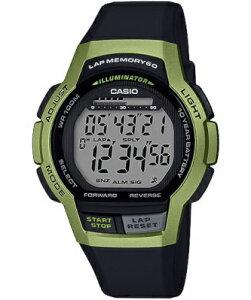 カシオ スポーツウォッチ 10気圧防水 メンズ デジタル 腕時計 グリーン 緑 10年電池 (MSD19FB03KAG) 海外版 60ラップ ストップウォッチ カウントダウンタイマー LED ライト付き 大型液晶 ランニング