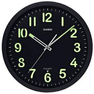 カシオ 電波時計 壁掛け時計 電波 アナログ 掛け時計 音がしない 秒針停止機能 おしゃれな ブラック 黒 (CL19JL01BLK) 夜間 見やすい ネオブライト 蓄光塗料 アラビア数字 蓄光 夜光時計 CASIO 電