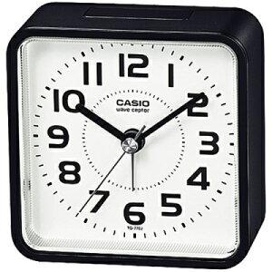 カシオ 電波時計 コンパクト 置時計 アナログ 目覚まし時計 おしゃれな ブラック 黒 見やすい アラビア数字 ホワイト 白 文字盤 (CL20AP01BLK) スヌーズ機能 アラーム 秒針 音がしない 秒針停止