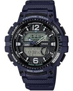カシオ スポーツウォッチ 10気圧防水 デジタル アナログ 腕時計 文字盤 見やすい 海外版 限定モデル (WSD20AU22BU) 月齢 ムーンデータ表示 ストップウォッチ カウントダウンタイマー LEDライト付