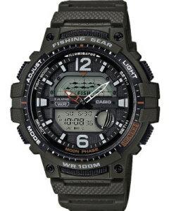 カシオ スポーツウォッチ 10気圧防水 デジタル アナログ 腕時計 文字盤 見やすい 海外版 限定モデル (WSD20AU24GRN) 月齢 ムーンデータ表示 ストップウォッチ カウントダウンタイマー LEDライト付