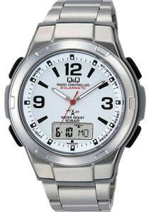 シチズン 電波時計 スポーツウォッチ 10気圧防水 メンズ ソーラー デジタル アナログ 腕時計(MDBQ13-004WHT) ストップウォッチ LED ライト付き 電波ソーラー ランニングウォッチ Q&Q マラソン ランニング 時計 アウトドアウォッチ