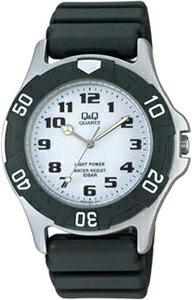 シチズンスポーツウォッチ 10気圧防水 メンズ ソーラー アナログ 腕時計 ダイバーズ(CBQ061BKWH)ホワイト 白 文字板 アラビア数字 回転ベゼル Q&Q CITIZEN マラソン ランニング 時計 ダイバーズウォッチ