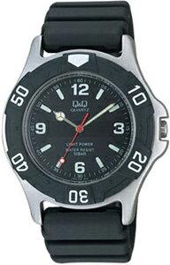 シチズン スポーツウォッチ 10気圧防水 メンズ ソーラー アナログ 腕時計 ブラック 黒(CBQ062BKBK)ダイバーズ 回転ベゼル アラビア数字 ソーラー ランニングウォッチ Q&Q CITIZEN マラソン ランニング 時計 ダイバーズウォッチ