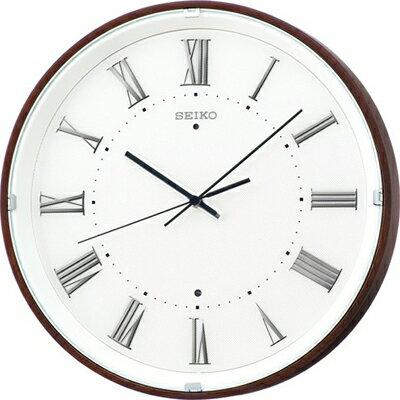 壁掛け時計 電波時計 アナログ 掛け時計 ブラウン 濃茶 おしゃれな 木目調デザイン 木枠ケース 見やすい ローマ数字 セイコー SEIKO 秒針の音がしない 自動秒針停止機能 電波掛け時計 静かな ウォールクロック (SCW17-P2404)