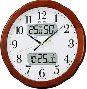 壁掛け時計 電波時計 デジタル アナログ 掛け時計 おしゃれな 木目調 木枠ケース ホワイト 白 文字盤 アラビア数字 見やすい 大型液晶 日付 曜日 カレンダー 温度 湿度計 セイコー SEIKO 秒針