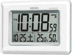 壁掛け時計 電波時計 デジタル 掛け時計 おしゃれな ホワイト 白パール 見やすい 大型液晶 日付 曜日 カレンダー 温度 湿度計 置き時計にもなる自立スタンド付き セイコー SEIKO ウォールクロ