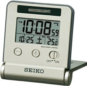 目覚まし時計 電波時計 コンパクト デジタル 置時計 おしゃれな ゴールド 金 スヌーズ アラーム 日付 曜日 カレンダー 温度計 ライト付き 見やすい 大型液晶 セイコー トラベルクロック SEIKO