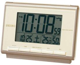 目覚まし時計 電波時計 コンパクト デジタル 置時計 おしゃれな ゴールド 金 スヌーズ アラーム 日付 曜日 カレンダー 温度 湿度計 ライト付き 見やすい 大型液晶 セイコー トラベルクロック SEIKO 電波 置き時計 旅行用 目覚まし時計 (SCW17-DCP503)