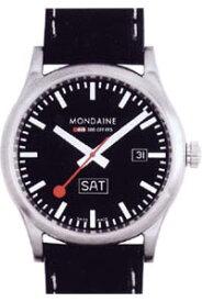 モンディーン スポーツライン デイ・デイト 10気圧防水 メンズ アナログ 腕時計 ブラック 黒(A667.30308.19SBB)日付・曜日 カレンダー 本革 レザー 革バンド MONDAINE MENS ANALOG おしゃれな カジュアル ドレス 腕時計