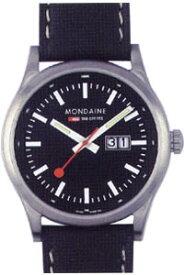 モンディーン スポーツライン ナイトビジョン 10気圧防水 メンズ アナログ 腕時計 ブラック 黒(A669.30308.14SBB)日付 カレンダー 本革 レザー 革バンド MONDAINE MENS ANALOG おしゃれな カジュアル ドレス 腕時計