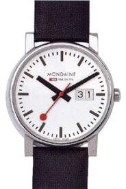 モンディーン エヴォ ビッグデイト 日常生活 3気圧防水 メンズ アナログ 腕時計 ホワイト 白 ダイアル(A669.30300.11SBB)日付 カレンダー ブラック 黒 本革 レザー 革バンド MONDAINE MENS ANALOG おしゃれな カジュアル ドレス ウォッチ 腕時計