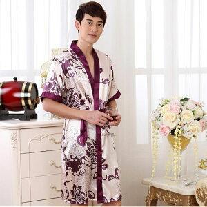 男性用バスローブ ガウン 浴衣式 前開き ローブ ワンピース 着物 花柄 サテン生地 シルクのような肌触り おしゃれ セクシー 着物 薄手 春 夏 秋