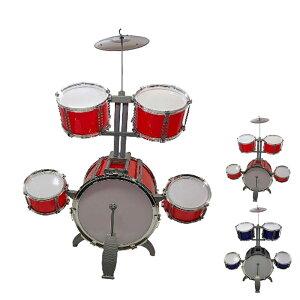 10点セット キッズドラム ドラムセット 2色選択 楽器 玩具 1バスドラム/4ドラム/1小シンバル/2ドラムスティック/フットペダル/1スツール付き 子供 キッズ
