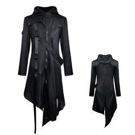 メンズ ジャケット コート コススチームパンク フード付き コスプレ 衣装 メンズ ハロウィン パーティー イベント 衣装 仮装  S〜5XL