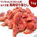 犬 馬肉 生肉 送料無料【送料込】【赤身1kg】カナダ産馬肉切り落とし【カタマリ】1kg 注!バラ凍結ではございません