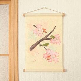 季題掛け軸 桜とめじろ【1個までネコポス可】