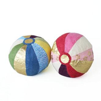 和紙の手まり2ヶ組_干支のお正月飾りとの組合わせもおすすめ