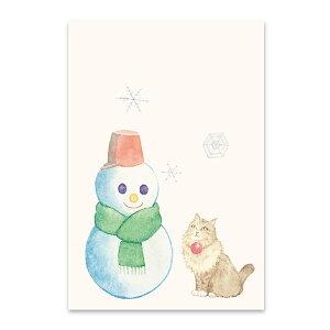 季節の絵はがき[冬]猫と雪だるま