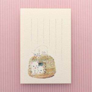 季節の絵はがき[春]3匹の子ねこ