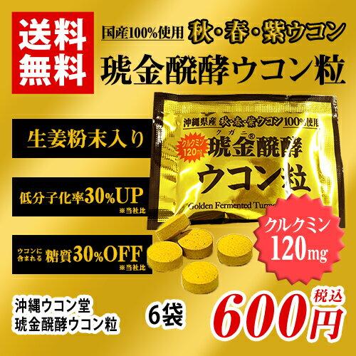 琥金醗酵 ウコン粒 個包装 6袋 ポイント消化 送料無料 バラ売り お試し ウコン堂 クガニ ウコン