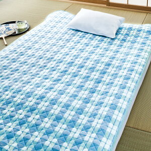 高島ちぢみ敷きパッド(キシリトール加工)<シングル2色組 ブルー・ピンク>