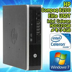 【中古】デスクトップパソコンHPCompaq(コンパック)8200EliteUSDT(ウルトラスリム)Windows7CeleronG5302.40GHzメモリ4GBHDD320GBDVD-ROMドライブWPSOffice初期設定済送料無料(一部地域を除く)ヒューレット・パッカードエイチピー